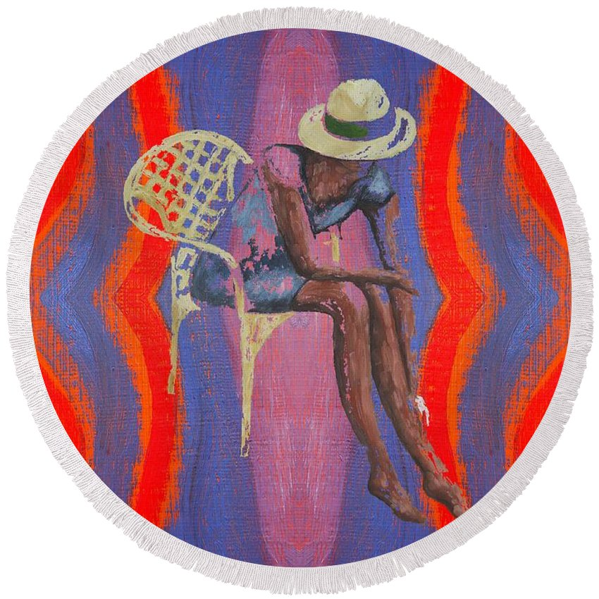 Hat Round Beach Towel featuring the painting Hat 2 by Patrick J Murphy