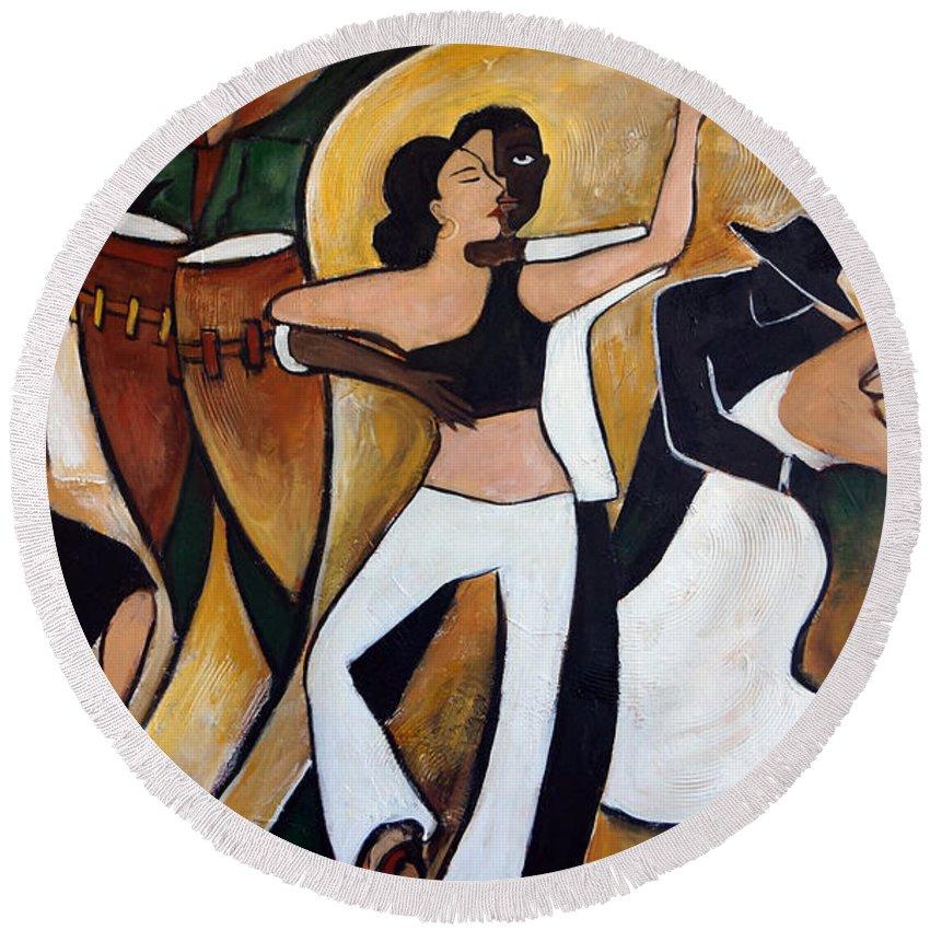 Cuba Round Beach Towel featuring the painting Havana Nights by Valerie Vescovi