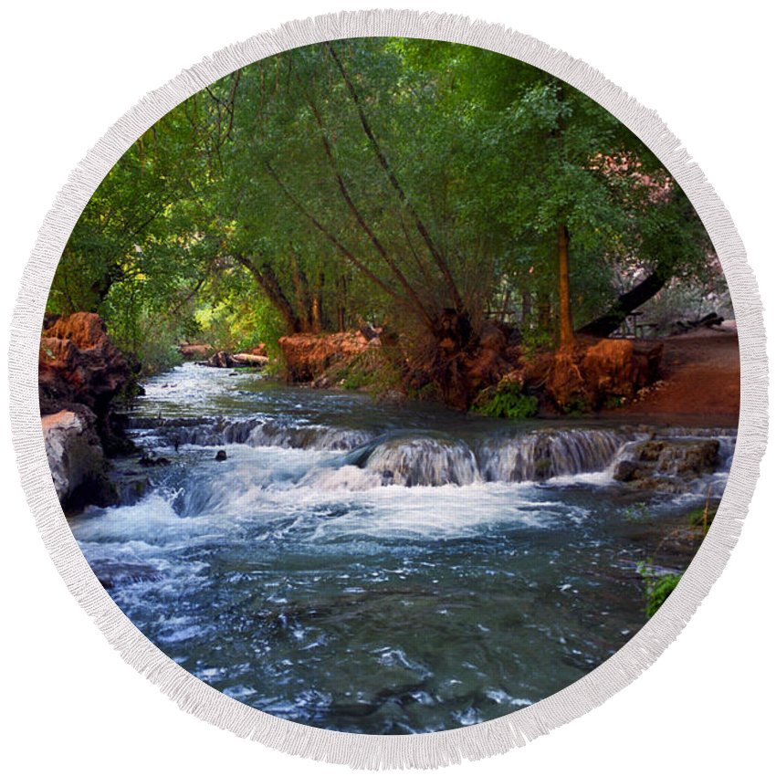 Arizona Round Beach Towel featuring the photograph Havasu Creek by Kathy McClure