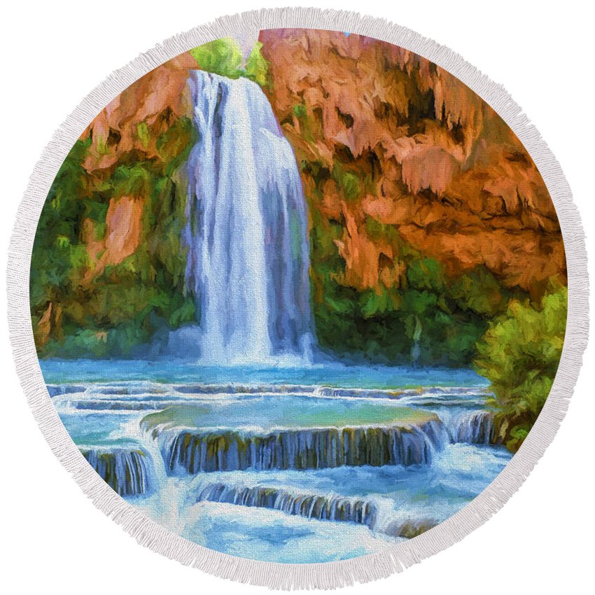 Fine Art Round Beach Towel featuring the painting Havasu Falls by David Wagner