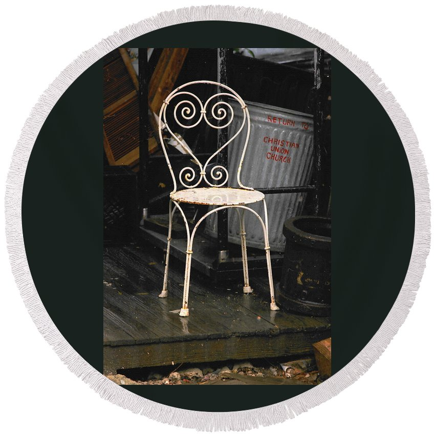 Chairs Round Beach Towel featuring the photograph Have A Seat by Ira Shander