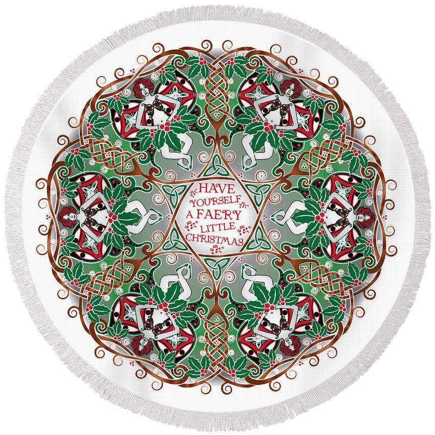 Celtic Art Round Beach Towel featuring the digital art Have Yourself A Faery Little Christmas by Celtic Artist Angela Dawn MacKay