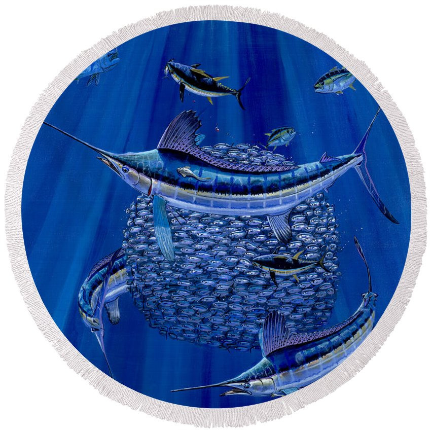 White Marlin Round Beach Towel featuring the painting Having A Ball Off0078 by Carey Chen