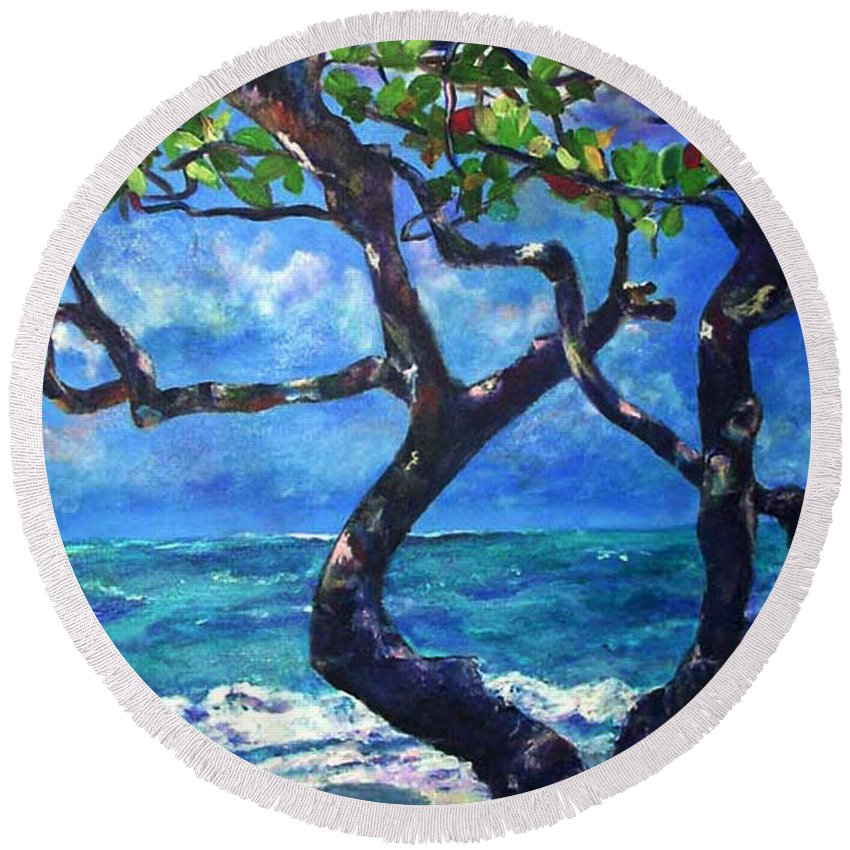 Tree Round Beach Towel featuring the painting Hawaii by Art by Kar