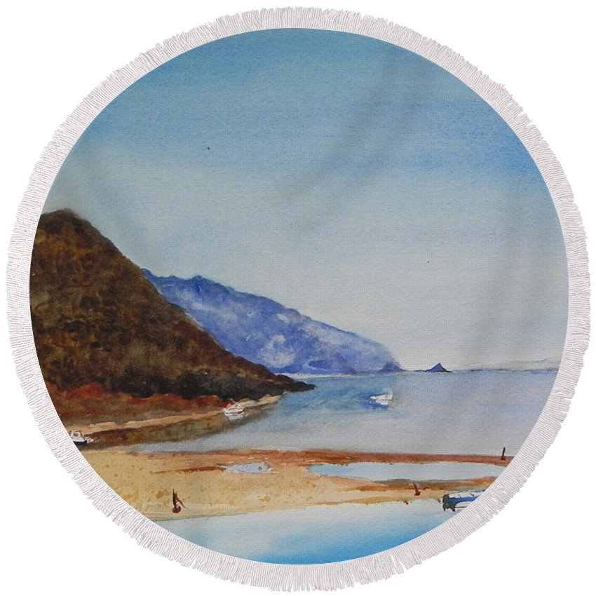 Hawaii Round Beach Towel featuring the painting Hawaii by Christine Lathrop