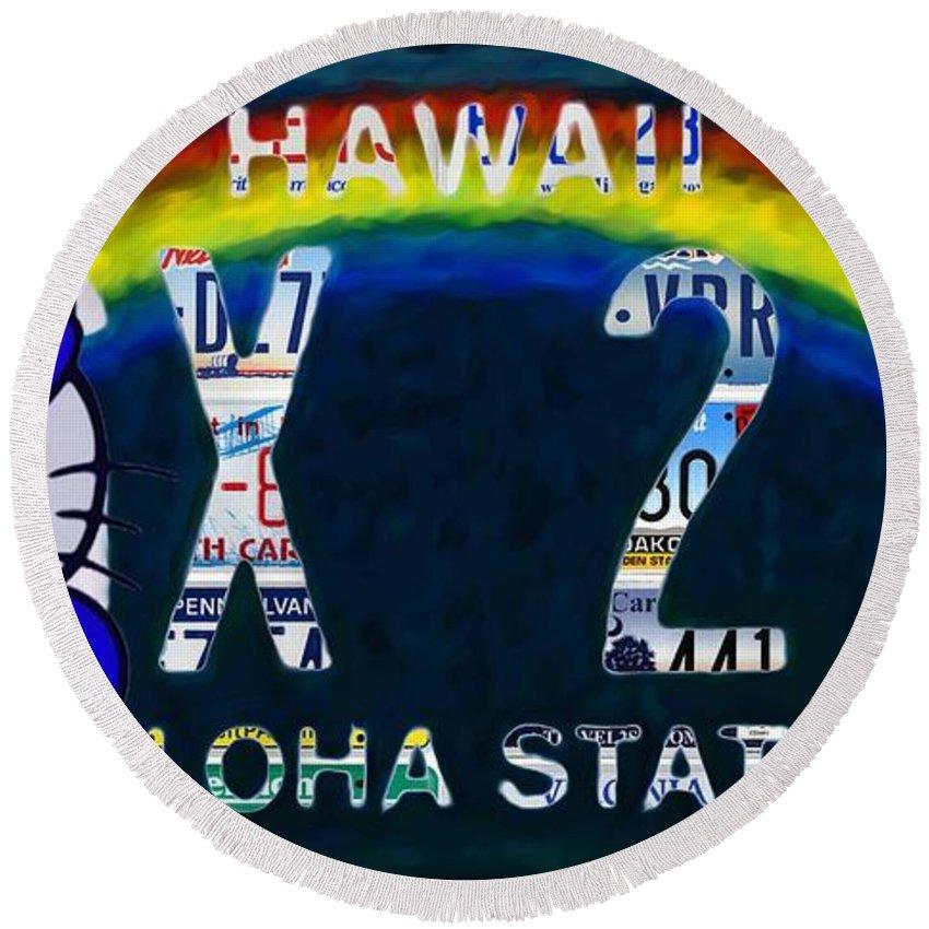 Hawaii License Plate Round Beach Towel featuring the painting Hawaii License Plate by Jeelan Clark