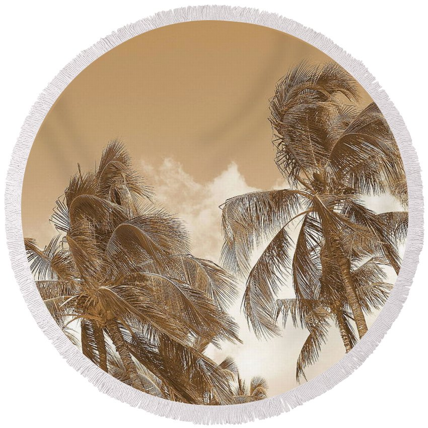 Landscape Round Beach Towel featuring the photograph Hawaiian Breeze by Athala Carole Bruckner