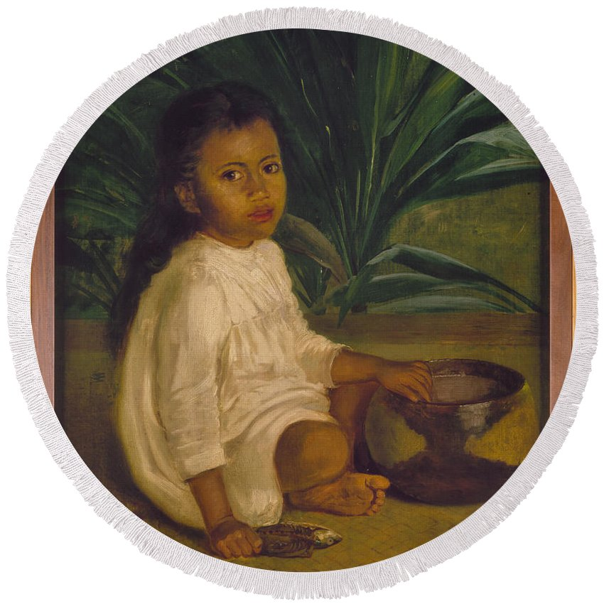 1901 Round Beach Towel featuring the painting Hawaiian Child, 1901 by Granger