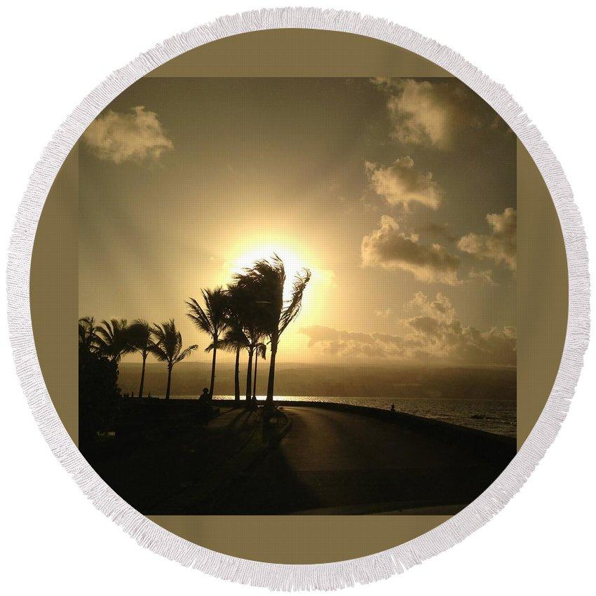 Hawaiian Landscape Round Beach Towel featuring the digital art Hawaiian Landscape 8 by D Preble