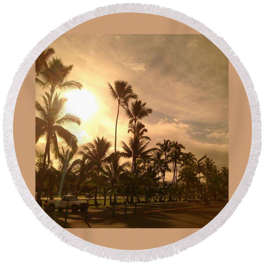 Hawaiian Landscape Round Beach Towel featuring the digital art Hawaiian Landscape 7 by D Preble