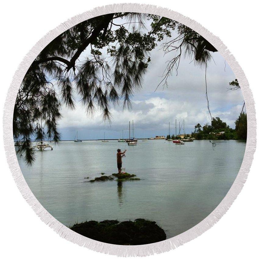 Hawaiiana Round Beach Towel featuring the digital art Hawaiiana 33 by D Preble