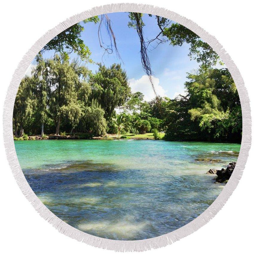 Hawaiian Landscape Round Beach Towel featuring the digital art Hawaiian Landscape 4 by D Preble