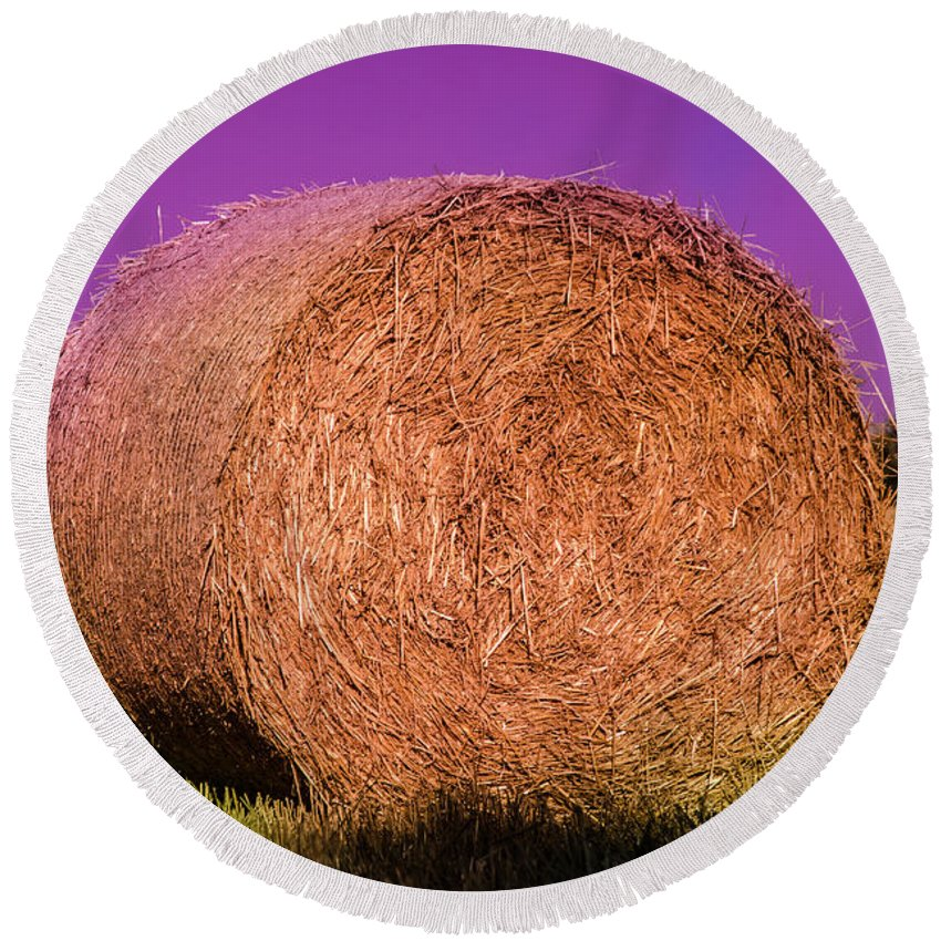 Wheat Round Beach Towel featuring the photograph Hay Roll by Dany Lison
