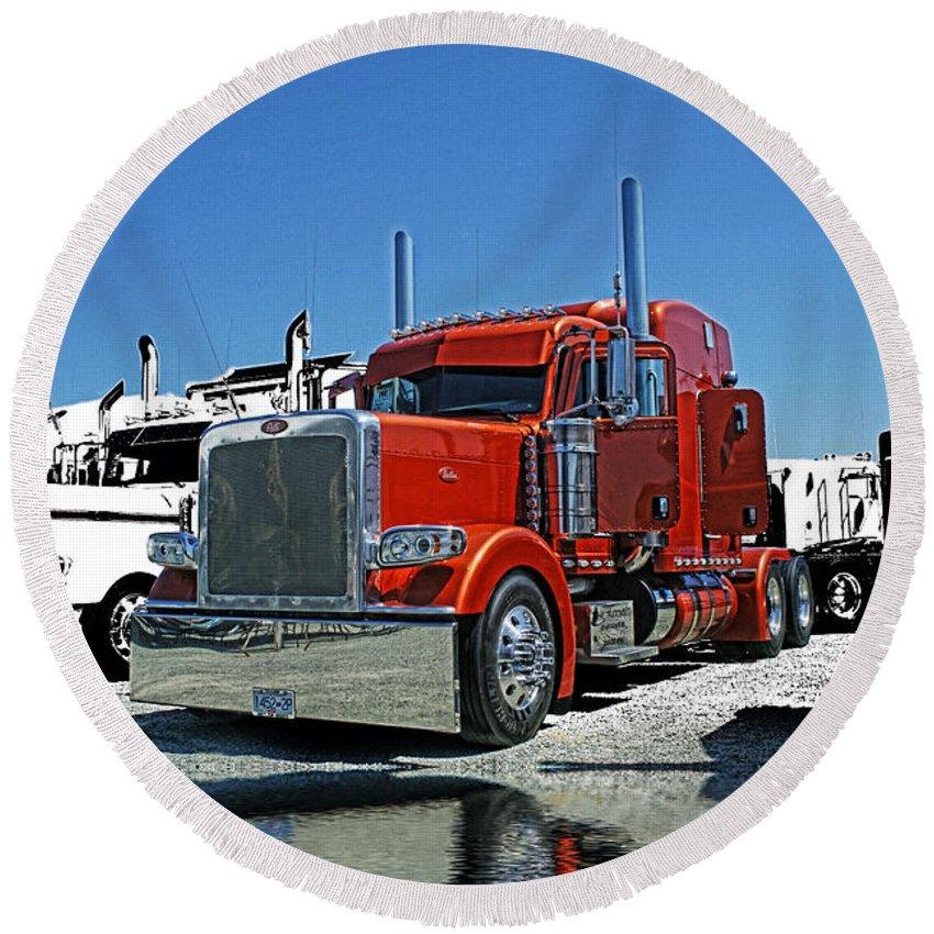 Trucks Round Beach Towel featuring the photograph Hdrcatr3080-13 by Randy Harris