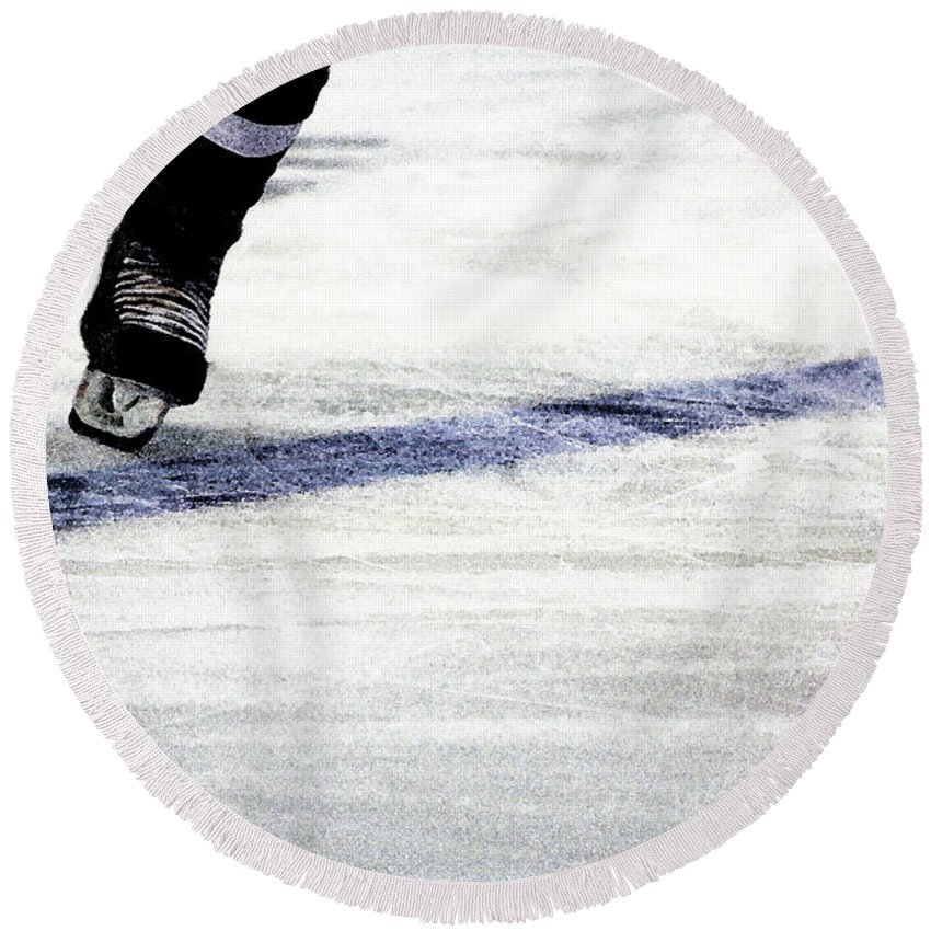 Hockey Round Beach Towel featuring the photograph He Skates by Karol Livote