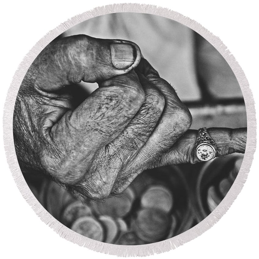 Hands Round Beach Towel featuring the photograph He Sold Coins And This Ring by Valerie Rosen