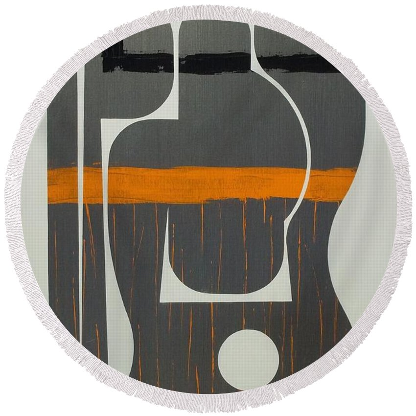 Abstract Paintings Paintings Round Beach Towel featuring the painting He Who Has No Name by James Hamilton