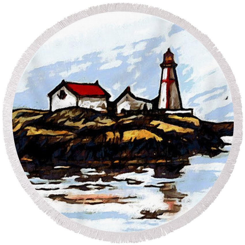 Light Round Beach Towel featuring the mixed media Head Harbour Lighthouse - Field Sketch by Art MacKay
