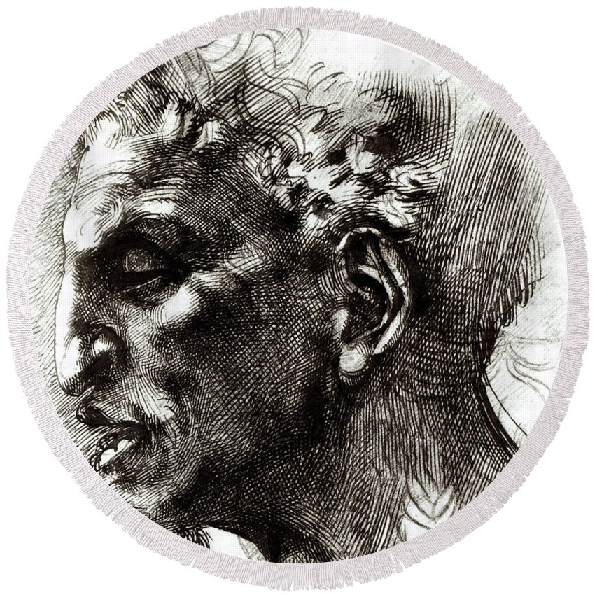 Michelangelo Round Beach Towel featuring the drawing Head Of A Satyr by Michelangelo