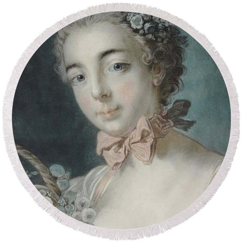 Flora Round Beach Towel featuring the pastel Head Of Flora by Francois Boucher