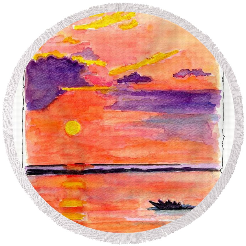 Boating Round Beach Towel featuring the painting Heading Home by Adele Bower