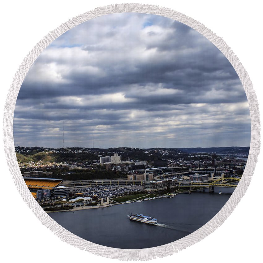 Three Rivers Stadium Round Beach Towel featuring the photograph Heading To The Game by Michelle Joseph-Long