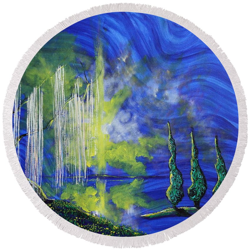 Landscape Round Beach Towel featuring the painting Healing Heals Me by Stefan Duncan