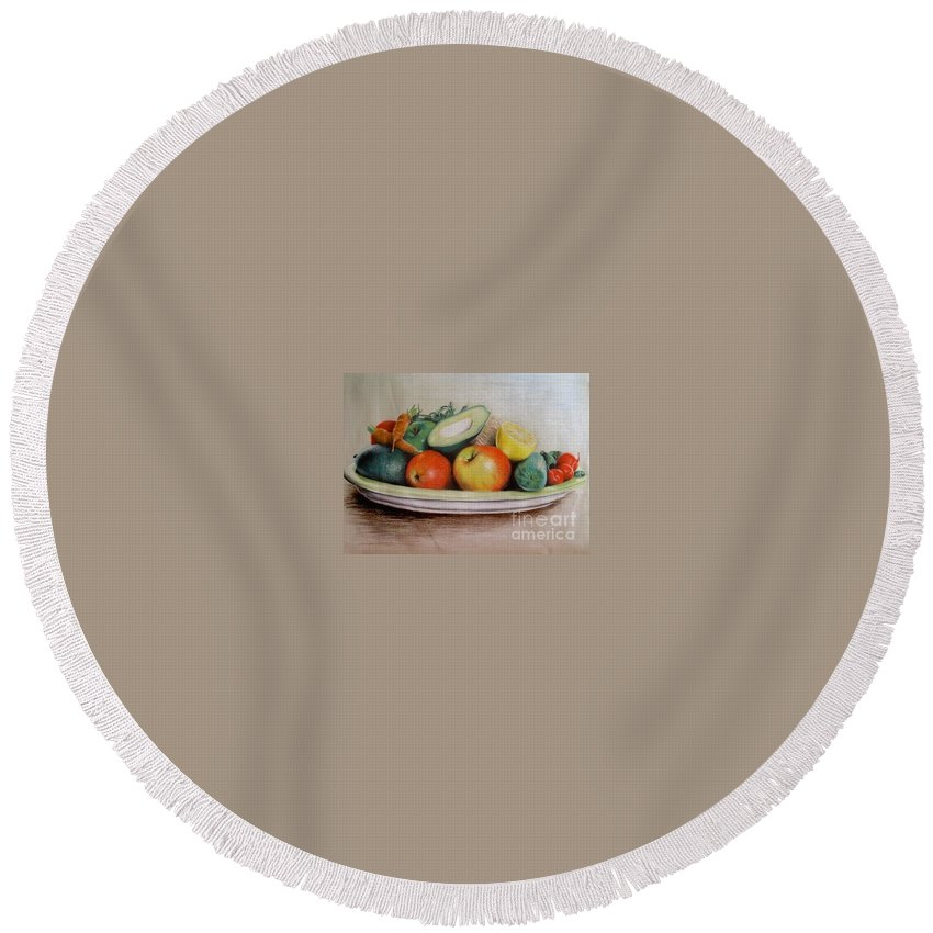 Fruit Round Beach Towel featuring the pastel Healthy Plate by Katharina Filus