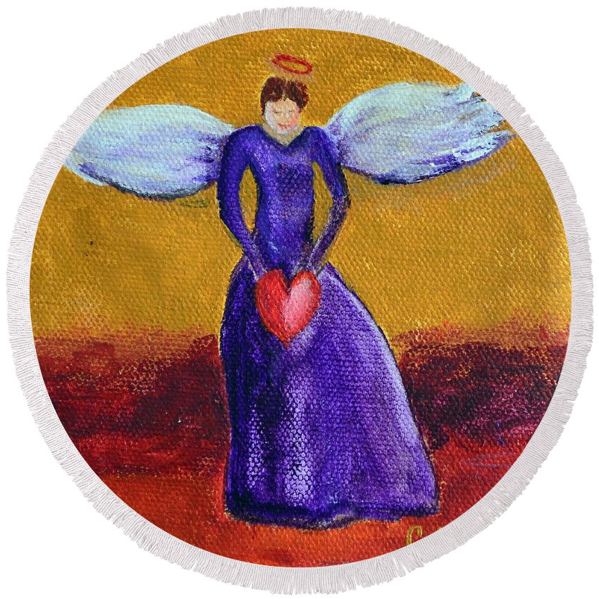 Heart Angel Red Wing Purple Faith Messenger Super-natural Good Spirit Beautiful Gold Round Beach Towel featuring the painting Heart Angel by Patricia Caldwell