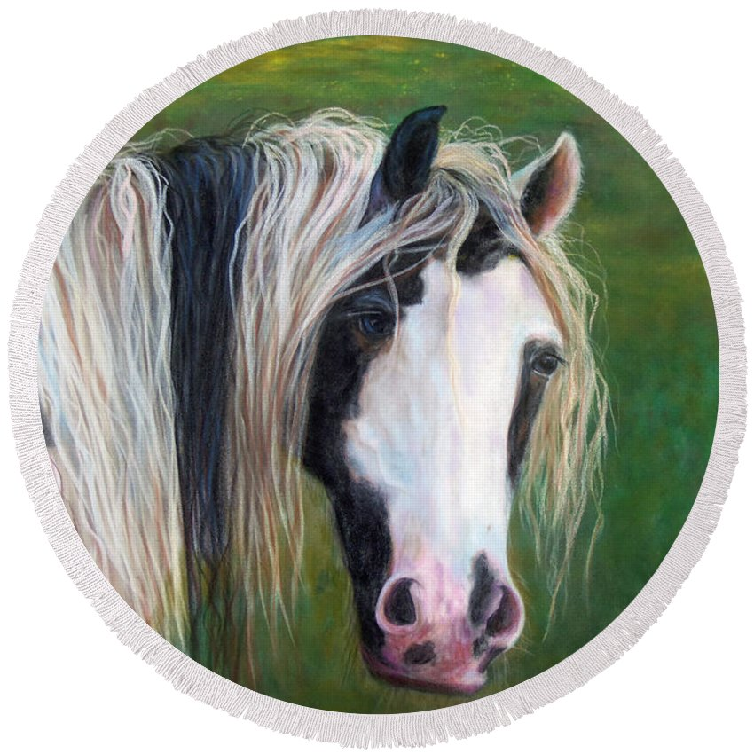 Heart Horse Painting Round Beach Towel featuring the painting Heart by Karen Kennedy Chatham