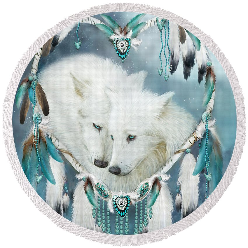 Carol Cavalaris Round Beach Towel featuring the mixed media Heart Of A Wolf by Carol Cavalaris