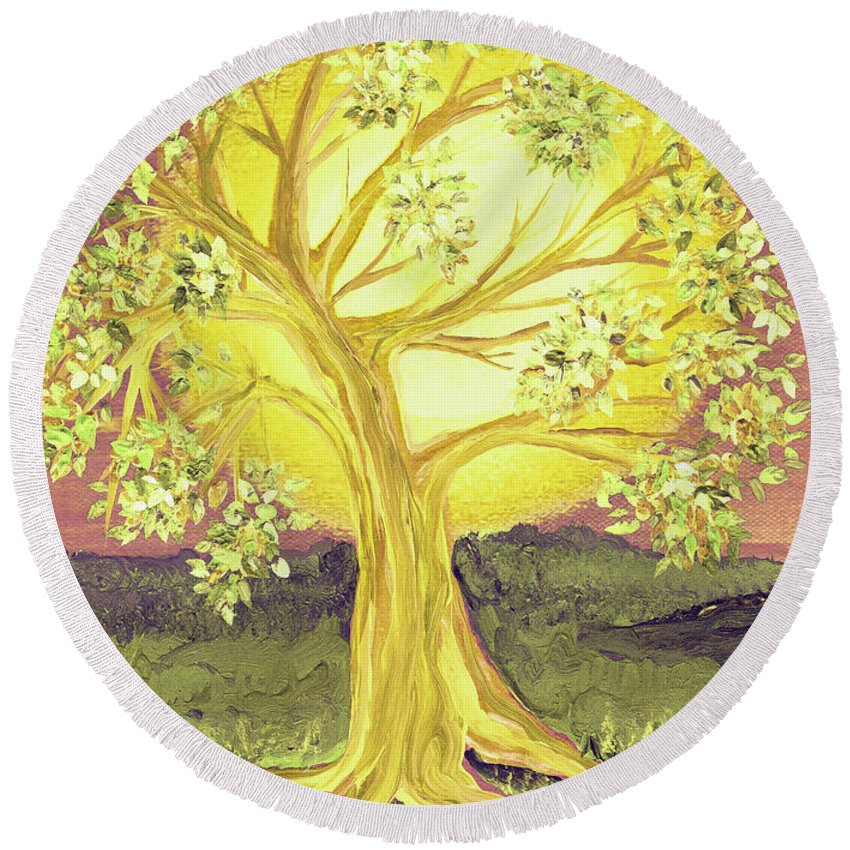 First Star Round Beach Towel featuring the painting Heart Of Gold Tree By Jrr by First Star Art