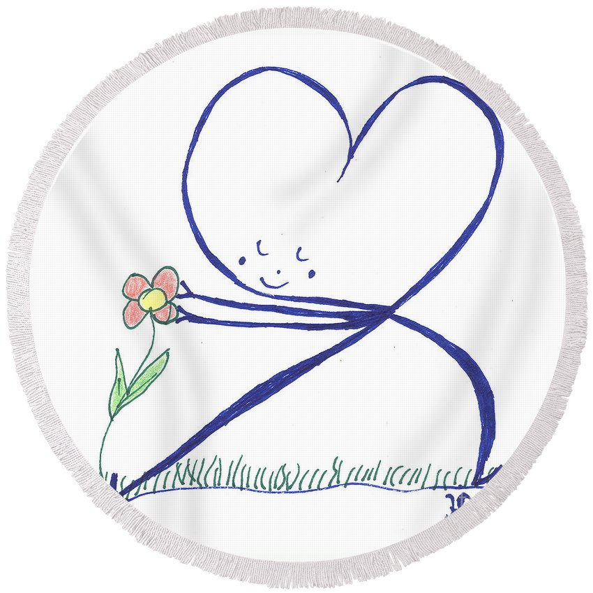 Heart Touches Flower Lovingly Round Beach Towel featuring the drawing Heart Touches Flower Lovingly by Heidi Sieber