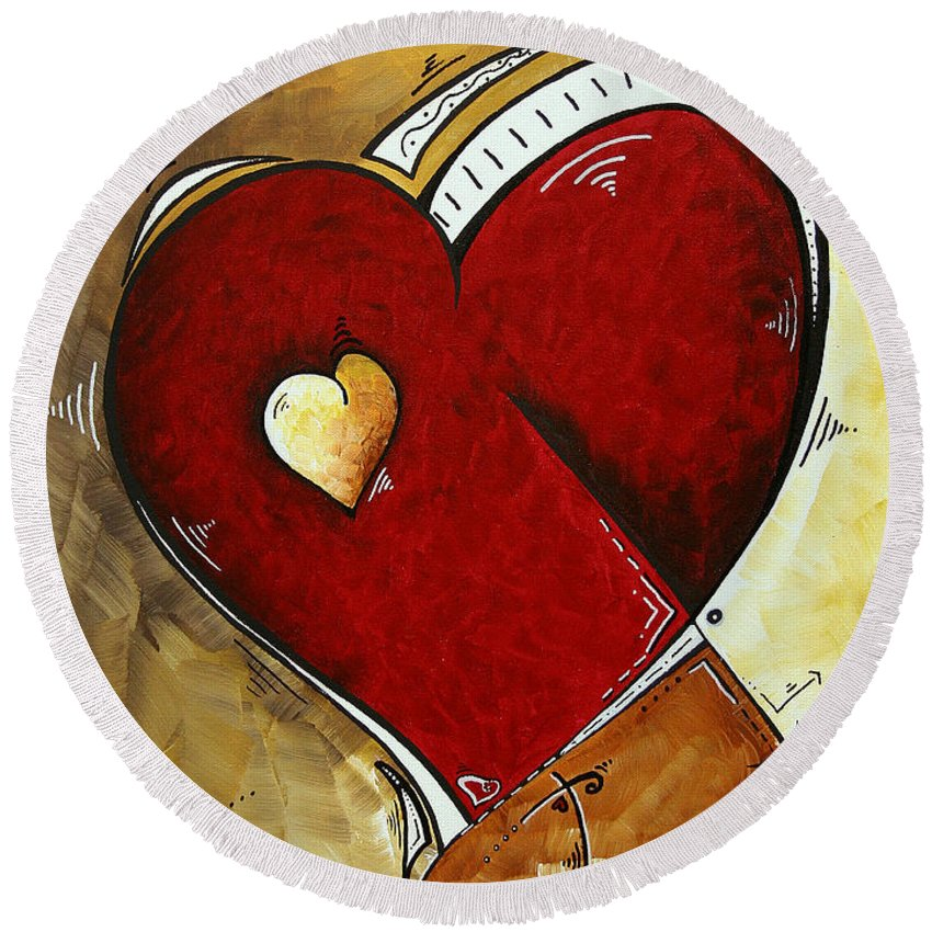 Art Round Beach Towel featuring the painting Heartbeat By Madart by Megan Duncanson