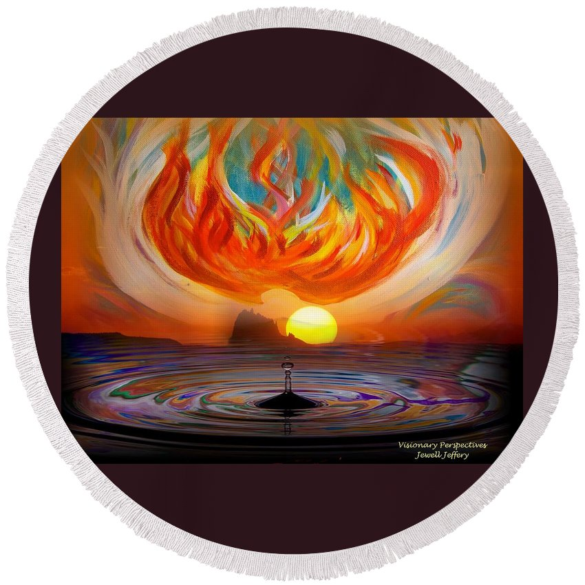 Holy Spirit Round Beach Towel featuring the digital art Heaven Come Down by Jewell McChesney