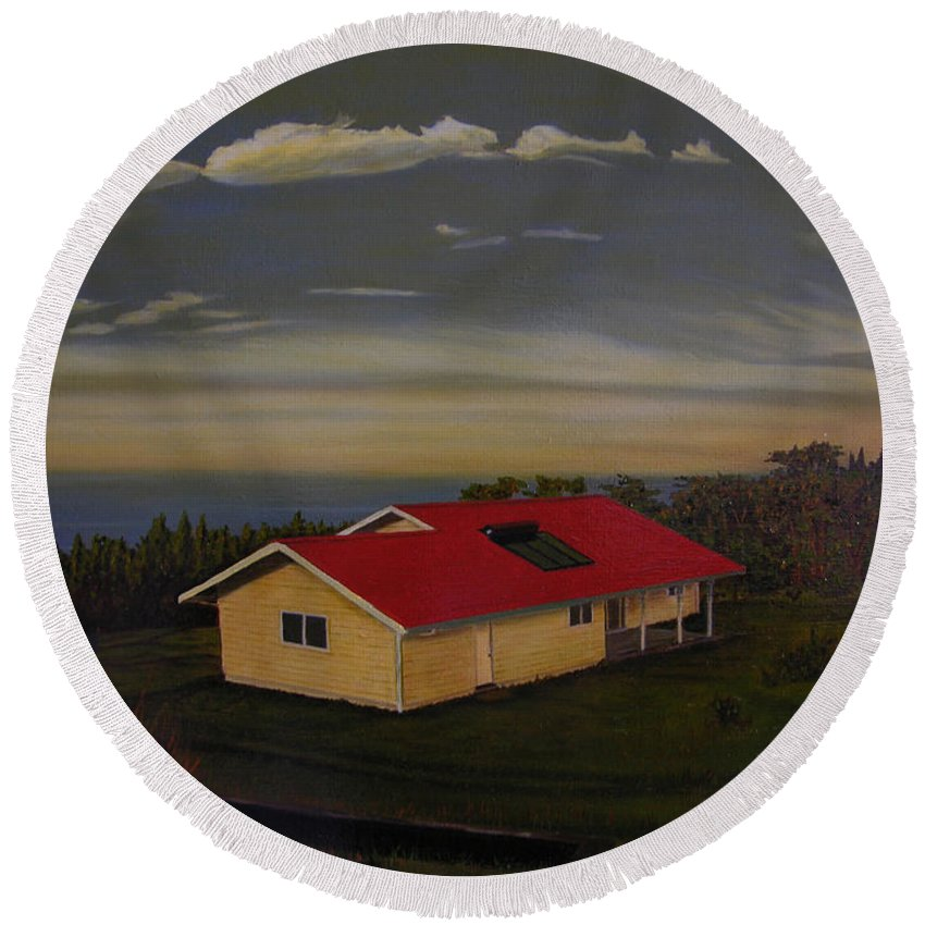 Hawaii Landscape Round Beach Towel featuring the painting Heaven On Earth by Thu Nguyen