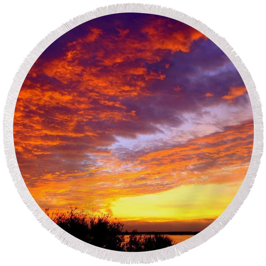 Skyscapes Round Beach Towel featuring the photograph Heaven Sent by Karen Wiles