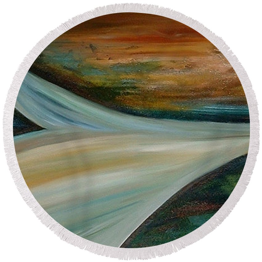 Abstract Round Beach Towel featuring the painting Heaven by Silvana Abel