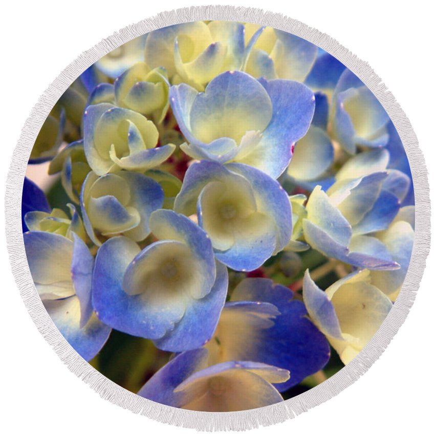 Floral Round Beach Towel featuring the photograph Heavenly Blues by RC deWinter