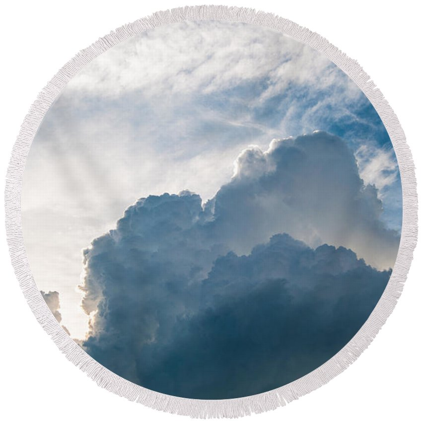 Cloud Round Beach Towel featuring the photograph Heavenly Skies by Bianca Nadeau