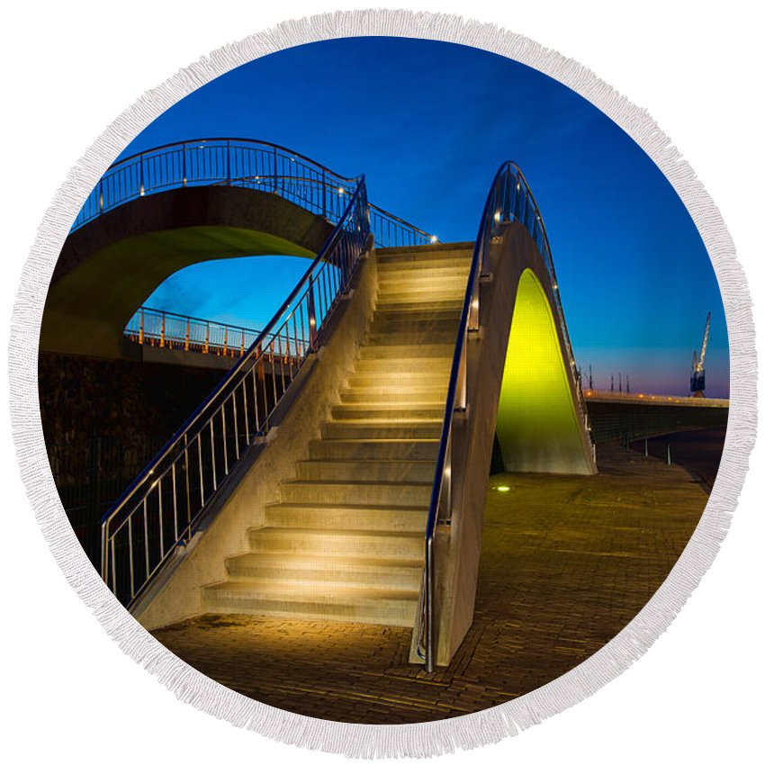 Outdoor Round Beach Towel featuring the photograph Heavenly Stairs by Chad Dutson