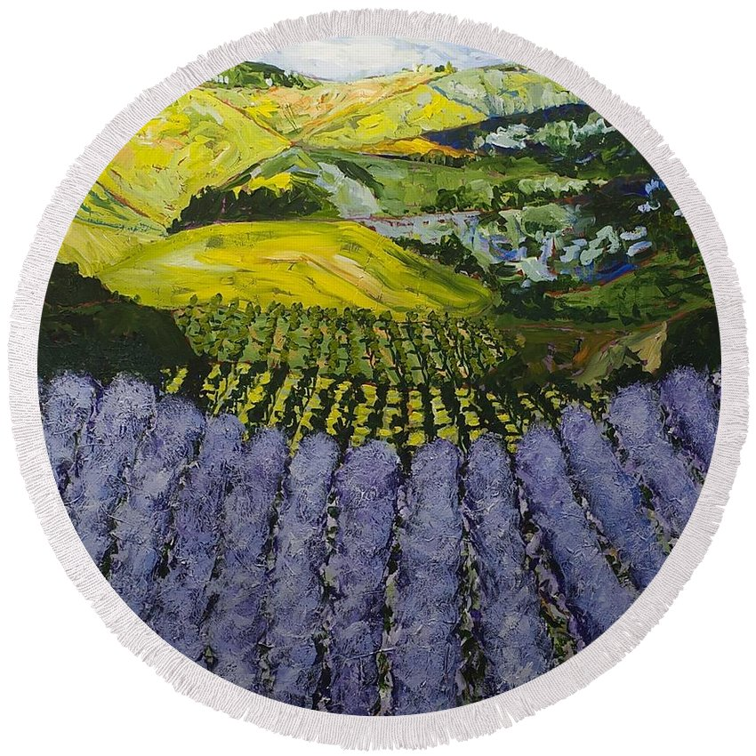 Landscape Round Beach Towel featuring the painting Heavenly Valley by Allan P Friedlander