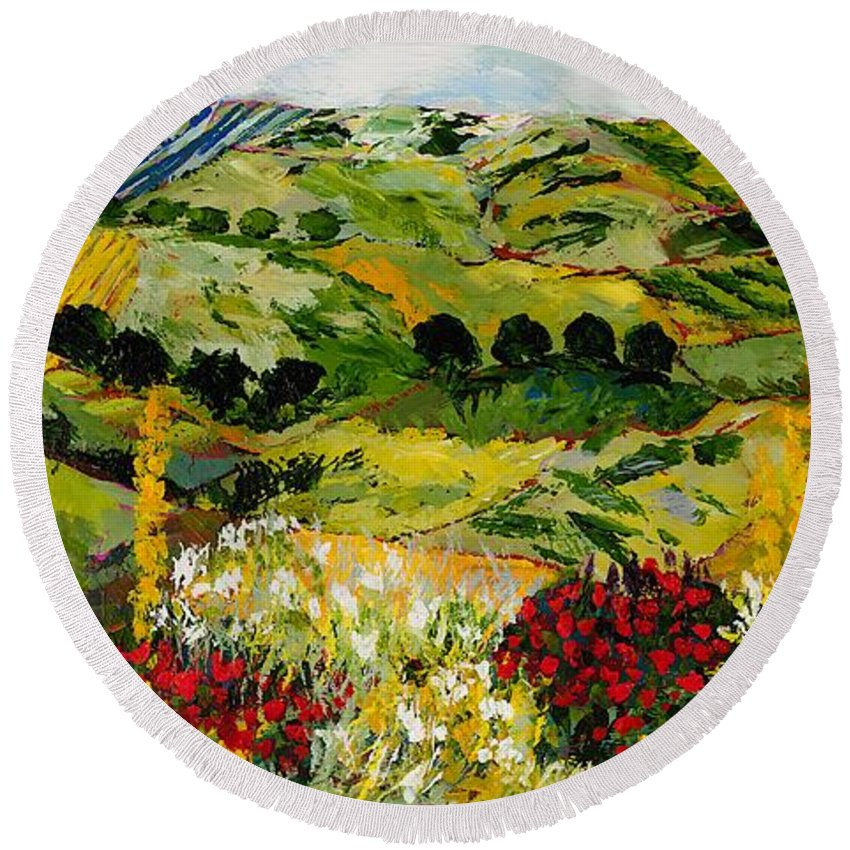 Landscape Round Beach Towel featuring the painting Heavenly View by Allan P Friedlander