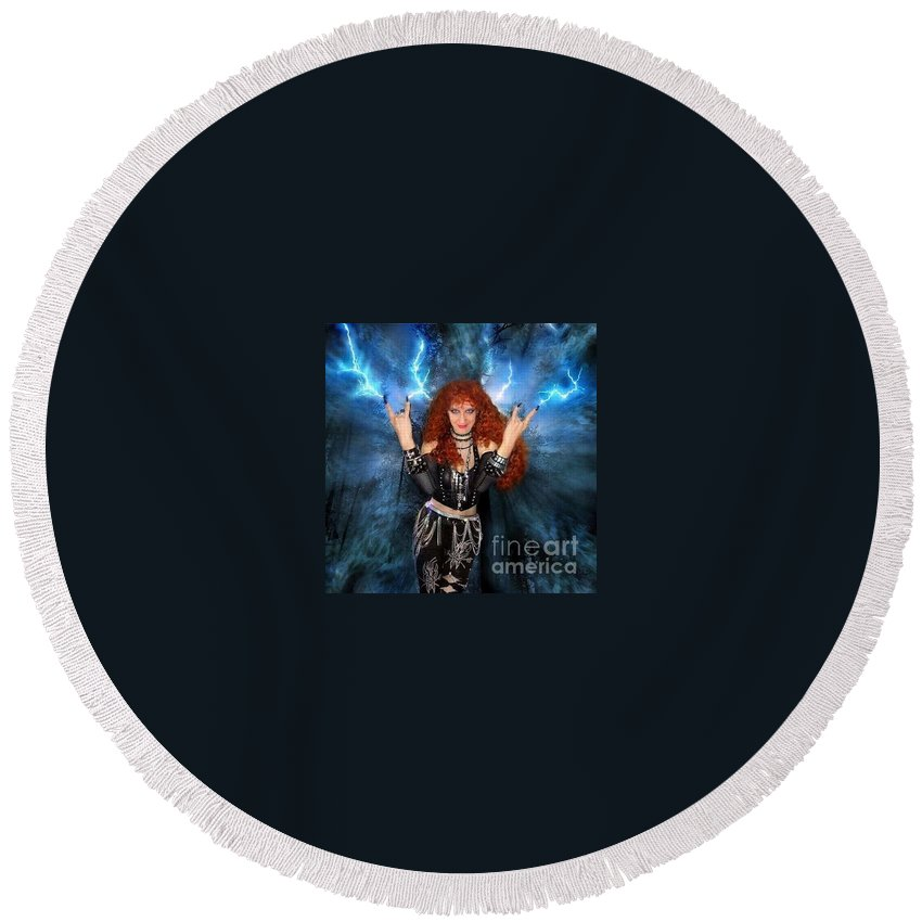 Sofia Metal Queen Round Beach Towel featuring the digital art Heavy Metal Fashion. Sofia Metal Queen. Blue Fire Storm. The Power by Sofia Metal Queen