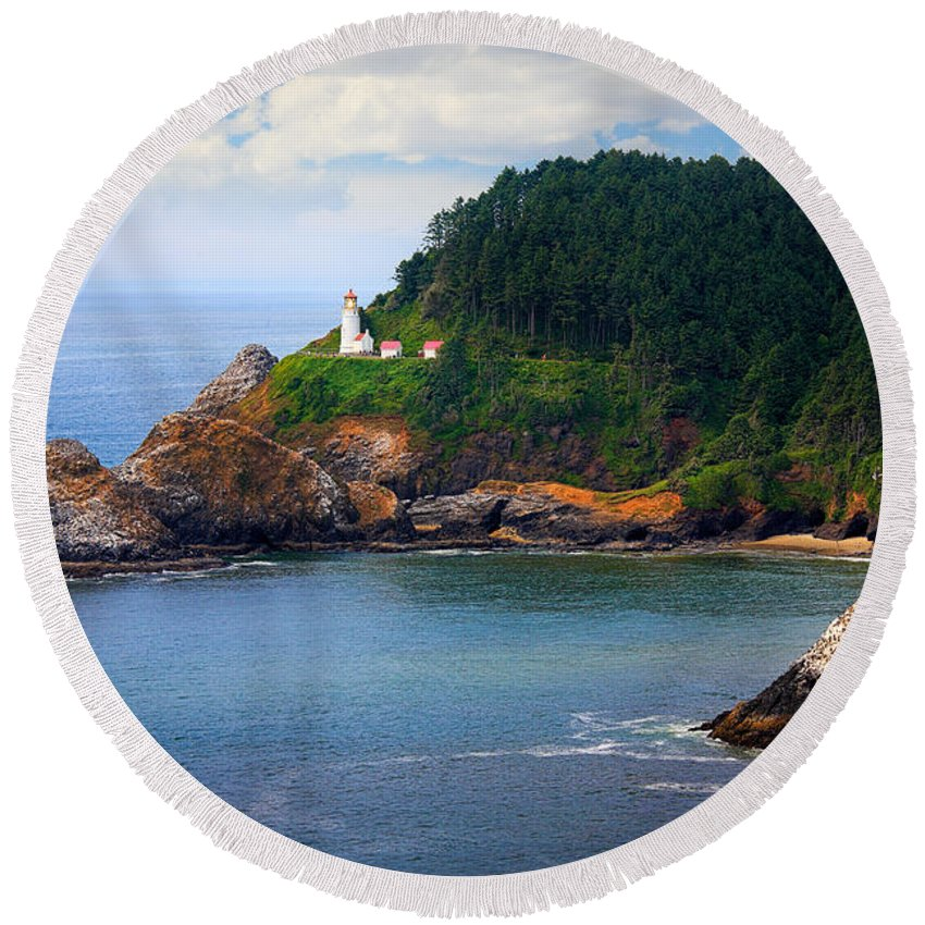 America Round Beach Towel featuring the photograph Heceta Head by Inge Johnsson