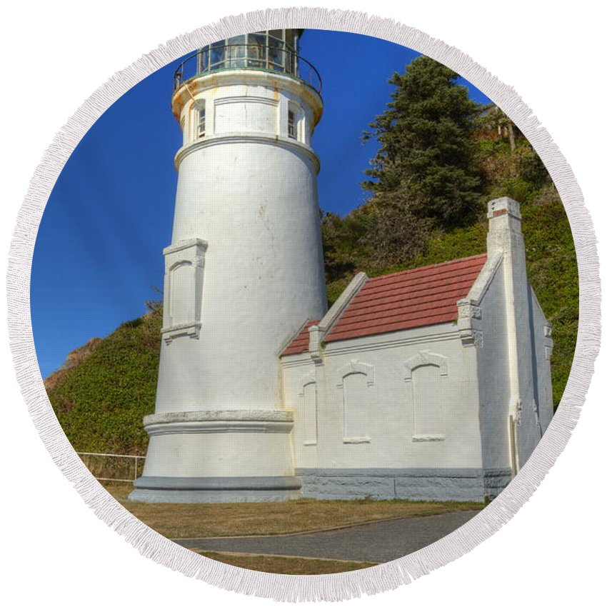 Heceta Round Beach Towel featuring the photograph Heceta Head Lighthouse 1 C by John Brueske