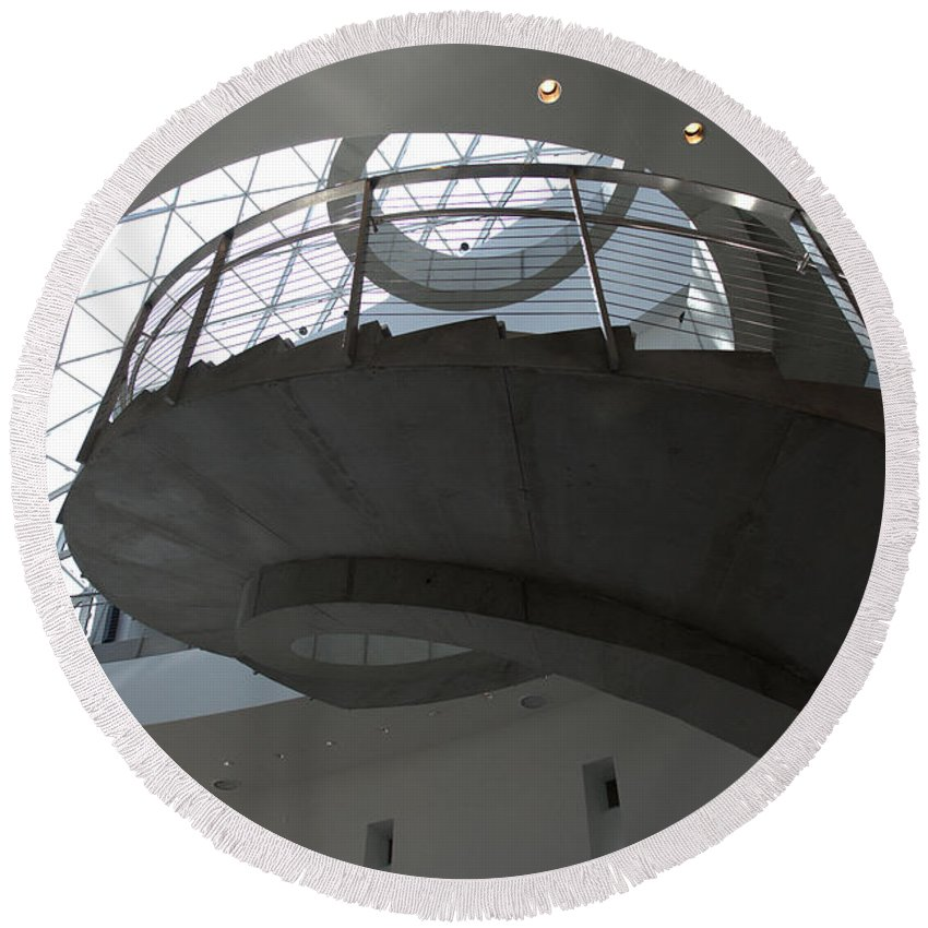 Helical Staircase Round Beach Towel featuring the photograph Helical Staircase by Liane Wright