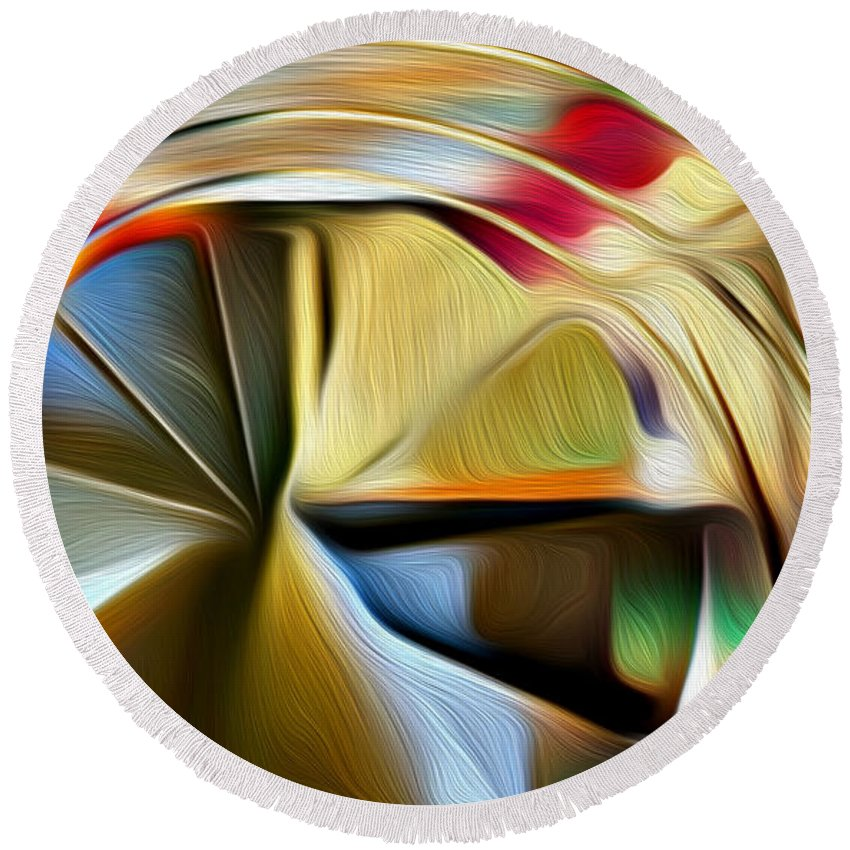 Helix Round Beach Towel featuring the digital art Helix by Carlos Vieira