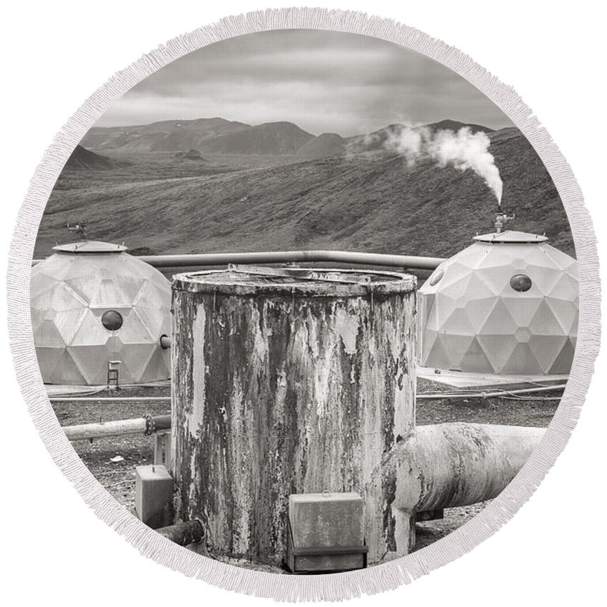 Brandt Round Beach Towel featuring the photograph Hellisheidi Power Station Well by For Ninety One Days