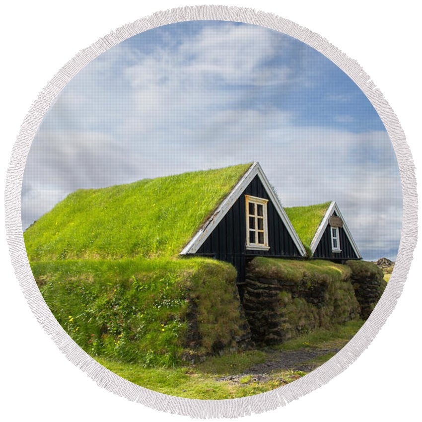 Hellissandur Round Beach Towel featuring the photograph Hellissandur Turf Houses by For Ninety One Days